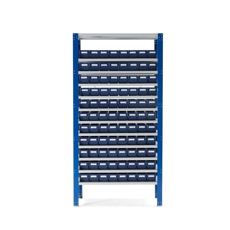 Lagerbackshylla, 88 backar,  blå backar