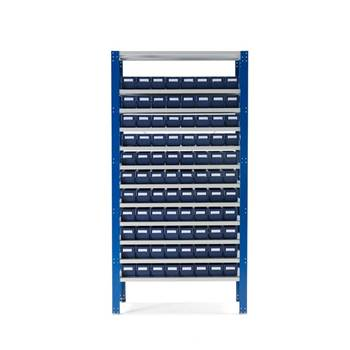 Small parts shelving with 88 bins