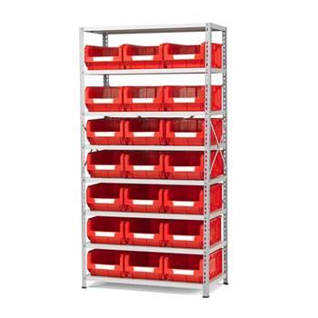 Komplett lagerbackshylla med 21 backar