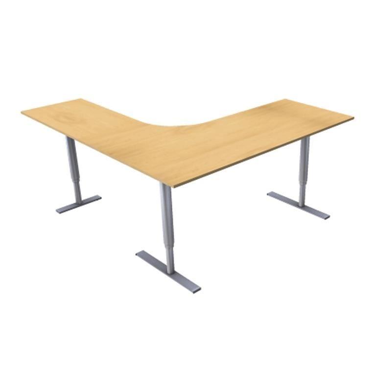 Hjørneskrivebord 3-ben, hev/senk, 2000x2000mm
