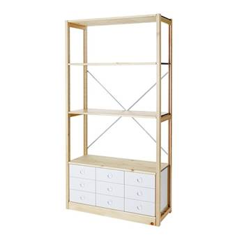 Tall bookshelf, closed ends with 9 drawers