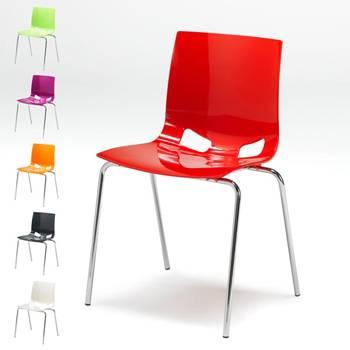 Krzesło stołówkowe o wysokim połysku.