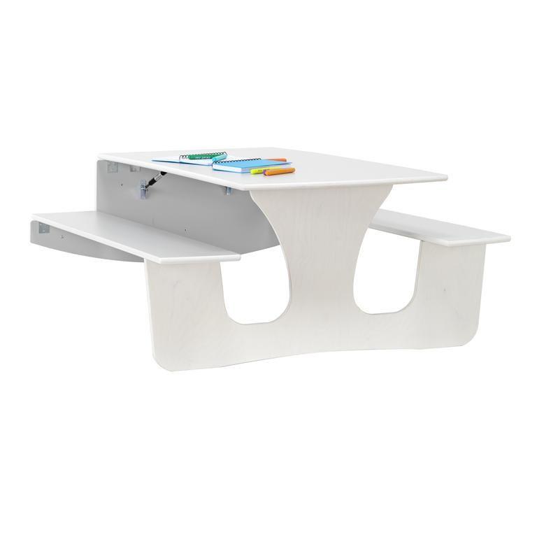 Składany stół z ławkami z montażem do ściany